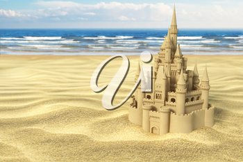Sand castle on the beach on the sea and sky background. 3d illustration