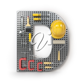 Letter D. Alphabet from the tools on the metal pegboard isolated on white. 3d illustration