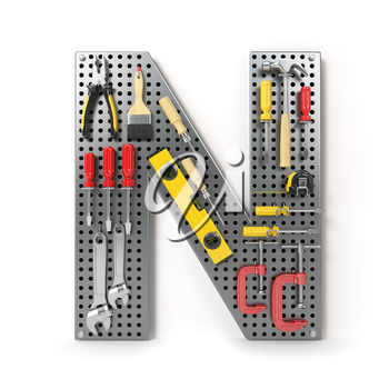 Letter N. Alphabet from the tools on the metal pegboard isolated on white.  3d illustration