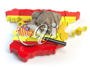 House and loupe on the map of Spain in colors of spanish flag. Search a house for buying or rent concept. Real estate development in Spain. 3d illustration