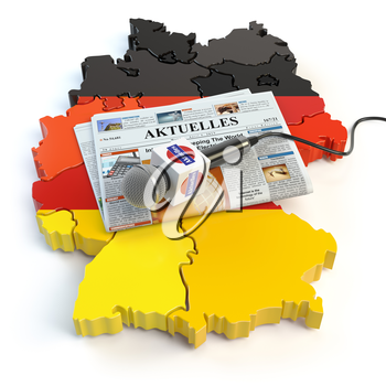 German news, press and  journalism concept. Microphone and newspaper with headline Aktuelles (german for: news)on the map in colors of the flag of Germany. 3d illustration