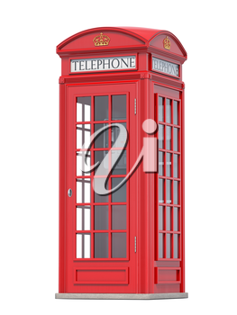 Red phone booth. London, british and english symbol. 3d illustration