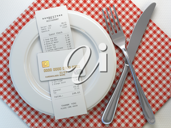 Restaurant  receipt bill  for payment by credit card on the plate, Mock up. 3d illustration