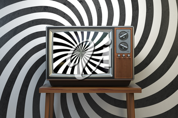 Propaganda and brainwashing of the influential mass media concept. Vintage TV set with hypnotic spiral on the screen. 3d illustration