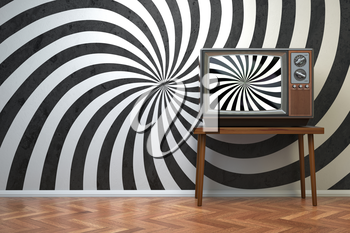 Vintage retro TV set with hypnotic spiral on the screen. Propaganda and brainwashing of the influential mass media concept.  3d illustration