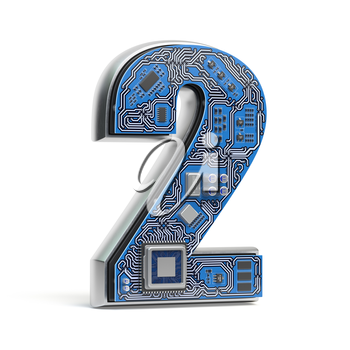 Number 2 two, Alphabet in circuit board style. Digital hi-tech letter isolated on white. 3d illustration