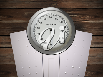 Analog weight scale on wood floor. 3d illustration