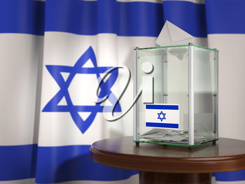 Ballot box with flag of Israel and voting papers. Israelitish presidential or parliamentary election.  3d illustration