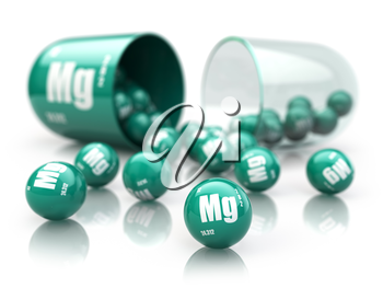 Capsule with magnesium Mg  element.  Dietary supplements. Vitamin capsule isolated on white. 3d illustration
