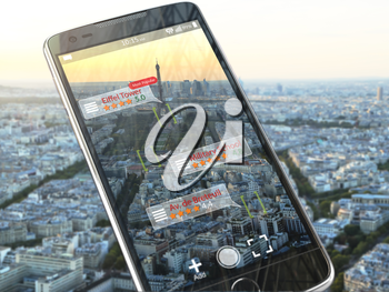 Augmented reality travel application concept.  Mobile smart phone check relevant information about landmars attractions of Paris. 3d illustration