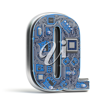 Letter Q.  Alphabet in circuit board style. Digital hi-tech letter isolated on white. 3d illustration