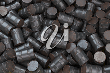 A heap of rusted oil barrels.  Chemical pollution and oil industry waste concept background. 3d illustration