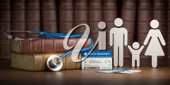 Medical health insurance concept. Family with stethoscope and plastic card. 3d illustration