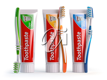 Toothpaste of different types and toothbrushes of different colors. 3d illustration