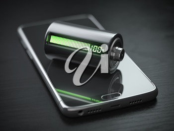 Smartphone charging concept.  Mobile phone and battery charge indicator on black wooden table.. 3d illustration