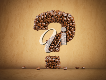 Question mark created from coffee beans. 3d illustration