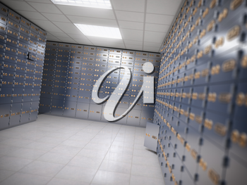 Safe deposit boxes room inside of a bank vault. 3d illustration