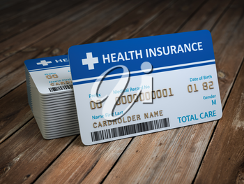 Health care medical Insurance card on the wood background. 3d illustration