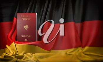German passport on the flag of Germany. Getting a german passport,  naturalization and immigration concept. 3d illustration