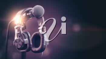Microphone and headphones..Audio, music, multimedia background. 3d illustration