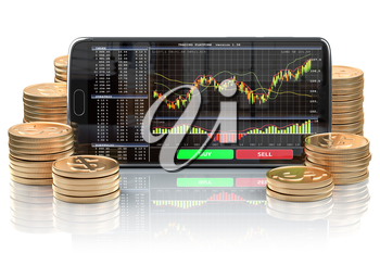 Smartphone with stock exchange, forex application orv mobile trading platform on the screen and stacks of coins. Online stock trading. 3d illustration