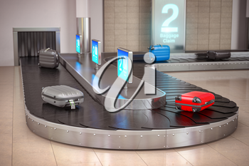 Suitcases on the airport luggage conveyor belt. Baggage claim. Airport terminal. 3d illustration