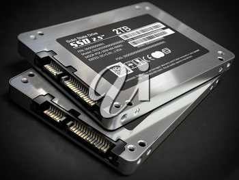 SSD state solid drives disks on black background. 3d illustration