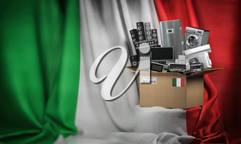 Household appliances made in Italy. Home kitchen technics in a cardboard box producted and delivered from Italy. 3d illustration