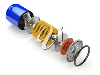 Car oil filter isolated on white. Exploded view. 3d illustration