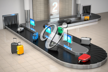 Baggage claim in airport terminal. Suitcases on the airport luggage conveyor belt. 3d illustration