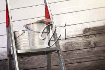 Paint cans and paint brush on the ladder with white painted wooden wall. 3d illustration