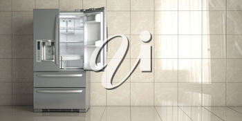 Side by side stainless steel refrigerator on white ceramic tile background. Open fridge in the empty kitchen. 3d illustration