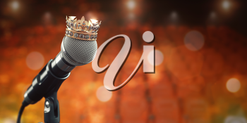 Microphone and king crown. Music award, concert of best singer, king of pop rock music concept background.. 3d illustration