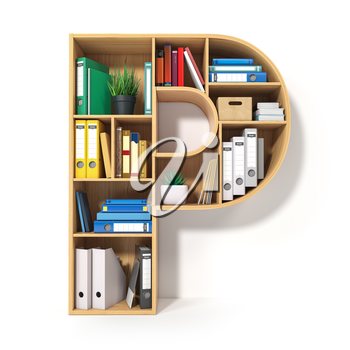 Letter P. Alphabet in the form of shelves with file folder, binders and books isolated on white. Archival, stacks of documents at the office or library. 3d illustration