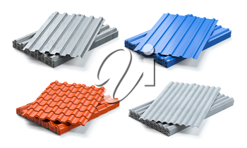 Set of different types of roof coating. Stacks of sheet metal  profiles, ceramic tile and gypsum roof isolated on white background. 3d illustration