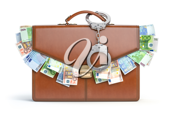 Briefcase full of euro isolated on white background. Bribery, corruption, stock exchange portfolio financial concept. 3d illustration