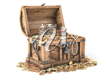 Open treasure chest filled with golden coins, gold  and jewelry isolated on white background. 3d illustration