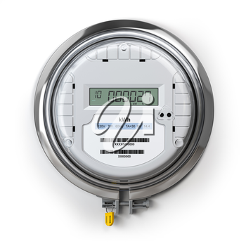 Digital electric meter with lcd screen isolated on white. Electricity consumption concept. 3d illustration