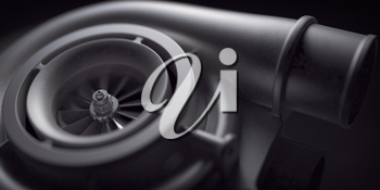 Car turbocharger on black background. Auto part turbo engine technology concept. 3d illustration