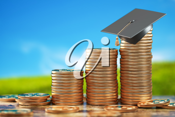 Education price and costs growth. Savings for education. Graduation cap on stacks of golden coin. 3d illustration