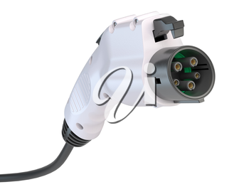 Electric car charging plug isolated on white. Car charger power plug with cable. 3d illustration