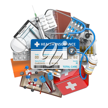 Health insurance card with medical supplies and equipment, pills, drugs and first aid kit. 3d illustration