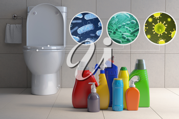 Toilet bowl with different types of bacteria, microbe  and virus and detergent bottles. Toilet hygiene infografic concept. 3d illustration