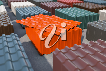 Stacks of metal tile sheets of different colors in the warehouse for roof construction. 3d illustration