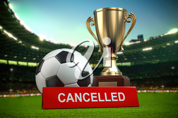 Football cup tourement or football match cancelled concept. 3d illustration