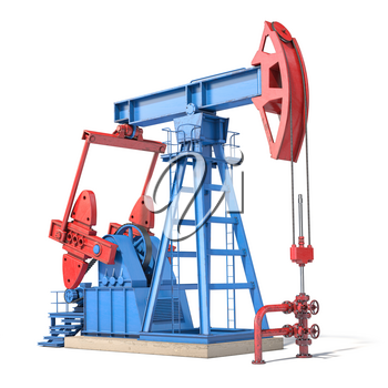 Oil pump jack isolated on white background. 3d illustration