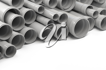 PVC plastic pipes and tubes stacked in warehouse. 3d illustration