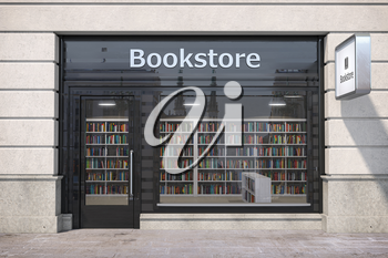 Bookstore shop exterior with books and textbooks in showcase. 3d illustration