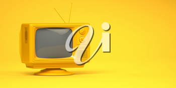 Yellow vintage tv set on yellow background. 3d illustration