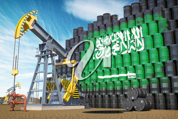 Oil production and extraction in Saudi Arabia. Oil pump jack and oil barrels with Saudi Arabia flag. 3d illustration